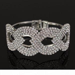 K Wholesale Price New Fashion Sliver Plated Crystal Rhinestone Cuff Bangle Bracelet Women Jewelry B018
