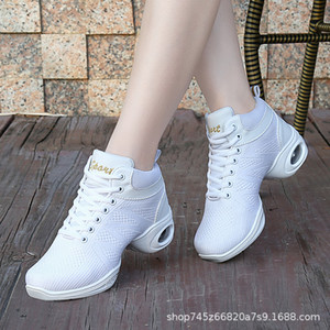 High top autumn new style soft sole mesh air permeable square jazz middle heel adult dance shoes