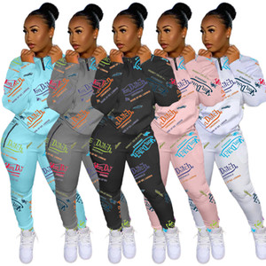 2020 New women's hot Autumn And Winter selling fashion digital printed letter sweater sportswear Two-piece set fashion Long sleeve Suit