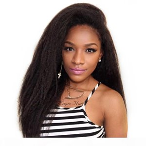 Full Lace Human Hair Wigs 8A Virgin Peruvian Hair kinky Straight Lace Front Wigs For Black Women Baby Hair Freeship