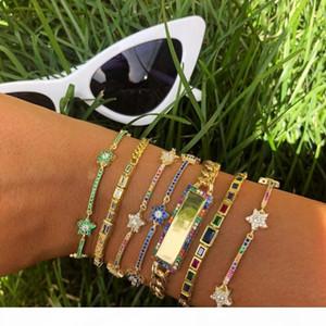 K 2018 Christmas Gift Rainbow Cz Bar Star Link Chain Bracelet 16 +5cm Adjusted Fashion Classic Jewelry For