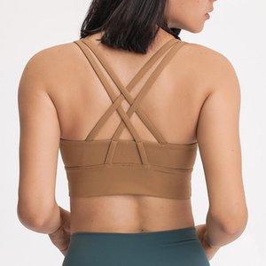 New Printed Classic Shockproof Sports Underwear Women Cross Beautiful Open Back Running Yoga Fitness Bra Top Tube Crop Mvsyo