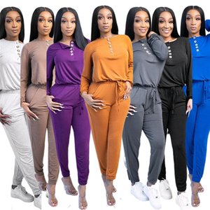 Women Two Pieces Outfits Long Sleeve Top Trousers Ladies New Fashion Pants Set Sportwear Tracksuits klw5693