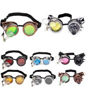 Lelinta Steampunk Goggles Cosplay Vintage Viktorianische Nietbrille Schweißen Gothic Kaleidoskop Bunte Retro Goggles1