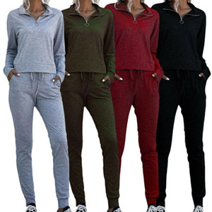 VICABO Women Clothing Zip Stand Collar Solid Color Womens Long Sleeve Sports Tops Pants Two Piece Sets Outfits for Women