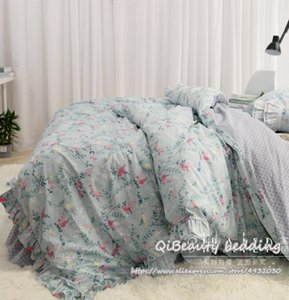 Bedding Sets Luxury Small Floral Garden Princess Cotton Bed Skirt Linen Four-piece Cover For Home