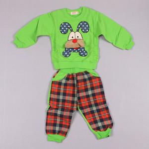 Clearance Sale Mode ActiveLower Cartoon Langarm T-Shirt Plaid Casual Hosen Kinder Set Kinderanzug Outfits Z101