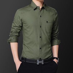 Hign Quality New Men's Shirt Men Cotton Long Sleeves Dress Shirt Turn-down Collar Cardigan Men Clothes