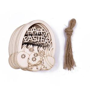 Partido de Pascua Decoraciones para el hogar Colgante 10 unids DIY Tallado Tallado Huevo de madera Colgantes Colgantes Adornos Creative Wooden Craft Party Favors EWF3447