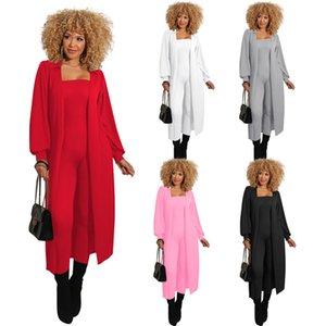 Alta elasticidad para mujer conjuntos de trajes de dos piezas de color sólido de manga larga de manga larga cubierta de manto slim sexy mujeres mono trajes