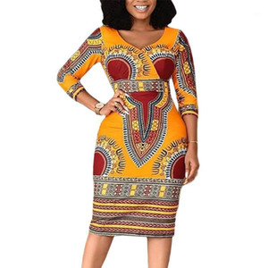 Spring Summer Dress Women 2020 Casual Plus Size Slim African National Style Dresses Elegant Sexy V Neck Pencil Long Party Dress1