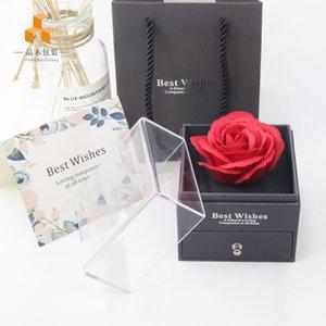 Rose Flower Jewelry Caixa Colar Caixa de Preservada Caixa de Presente de Caixa de Aniversário para Dia dos Namorados Dia das Mães OOD4159