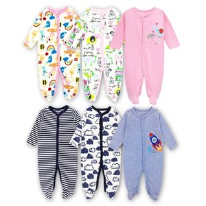 3 Pack Newborn baby girls boys Babies Footie Long sleeve 100%cotton printing Infant clothes 0-12 Months 201216