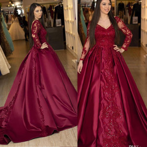 New Evening Dresses Burgundy Long Sleeves Lace Prom Dresses Beaded Appliques V Neck Court Train Plus Size Formal Evening Party Gowns