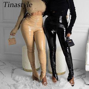Tinastyle Faux PU Leather High Waist Pants Women Leggings Black Sexy Split Bodycon Pencil Pants Skinny Winter Legging Streetwear