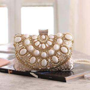 Designer-New Fashion Women's Handbag Pearl Satchels Shape hard Evening Clutch Bag Purse Beaded Wedding bag Female Shoulder