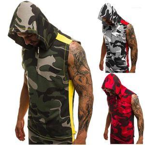 Erkek Kolsuz Tops Mens Yaz 3D Casual Fermuar Erkekler Tasarımcı Yelek Hoodies Giysileri Baskı Spor Sporları XxicF