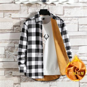 Classic Fund Lattice Men Shirt Leisure Loose Teenagers Increase Down Long Sleeve Cardigan Plus Cashmere Warm Thick Shirt