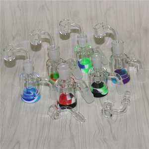 14mm 18mm Glass Ash Catchers 45 90 Degrees Glass Reclaim Ashcatcher Ash Catcher For Glass Bongs Silicone Nectar Collectors dabber tools
