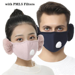 Hot 2 In 1 Face Mask Cover With Plush Ear Free Filter Protective Mask PM2.5 Thick And Warm Mouth Masks Winter Mouth-Muffle Earflap OWC4106