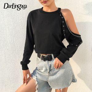 Darlingaga Streetwear Punk Herbst Cropped Sweatshirt Frauen Kette Kalt Schulter Pullover Gothic Sweatshirts Hoodies Crop Tops Neue
