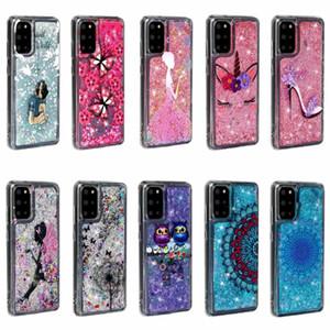 Étui de TPU doux pour Samsung A72 5G A32 A12 S20 Fe pour Oppo A92 A72 A52 MI 10 Papillon liquide Lady Owl Bling Bling Couverture Glitter