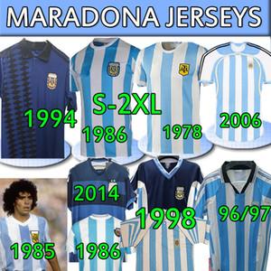 4XL Argentina Retro Jersey 1986 Maradona 챔피언 버전 1978 1985 1994 1996 1998 2006 2014 클래식 빈티지 + 키즈 키트 축구 셔츠