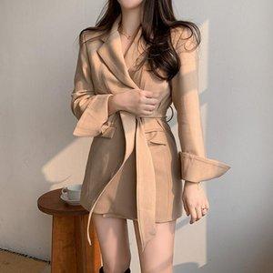 New Spring Women Blazer Fashion Slim Long Blazer Waist Belt Suit Jacket Female Retro Loose Wild Suit Coa