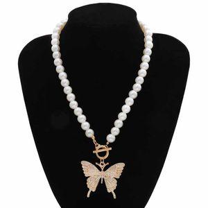 Jewelry Butterfly Pendant Necklace Women Female Rhinestone Shining Statement Crystal Charms Choker Necklace Xmas Gift Kimter-X986FZ