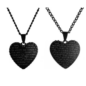 New Gold Silver Black Titanium Steel Love Alloy Pendant Necklaces Christian Prayer Hands Scripture Necklace Unisex Choker Jewelry Gifts