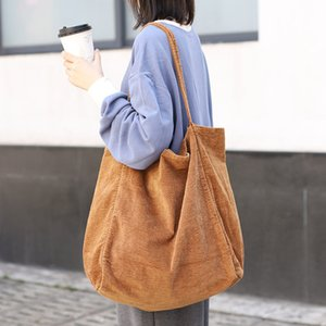 2020 fashion luxury Corduroy Women Large Shopping Bag Casual Female Big Shoulder Ladies Canvas Shopper Black Green Wholesale Drop Shipping