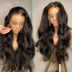 Onda corporal 13x4 perucas dianteiras pré-arrancadas com cabelo bebê cabelo humano brasileiro longos perucas frontais para mulheres negras