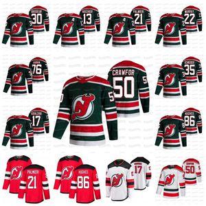 Mackenzie Blackwood Womens Corey Crawford New Jersey Devils 2021 Reverse Retro Jersey Dawson Mercer Hughes Gusev Subban Hischier Schneider