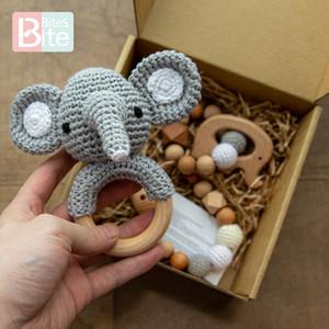 Mordida mordidas brinquedos de bebê crochê amigurumi elefante chocalho sino personalizado recém-nascido chupeta clipe montessori brinquedo educacional bebê chocalho z1211