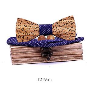 New Design Zebra Wood Men Tie Classic Business Wooden Bow Tie Handkerchif Cuff Set Suit For Wedding Necktie Factory Sale T219 Q sqcEfC