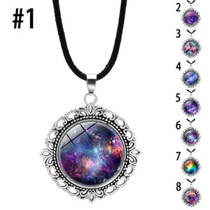Glow in the dark necklace Sky Glass ball Space Universe pendant Starry sky Time gem leather rope necklaces women Girls fashion jewelry