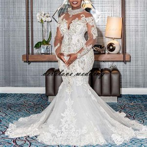 Luxury Mermaid Wedding Dress 2021 Sheer Neck Long Sleeves African Mermaid Bridal Gowns Robe De Mariee