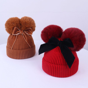 9 Colors Baby Pom Pom Beanie Cap Toddler Kids Baby Girls Winter Warm Crochet Knitted Hat Double Fur Ball Bow Hats Accessories M3124