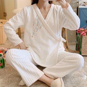 Vêtements de maternité d'hiver Vêtements de nuit Spring Printemps Automne Flanelle Style chinois Kimono Confinement Vêtements Prénatal + Post-partum Pajamas Lj201120