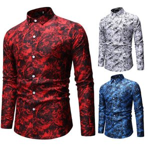 2020 new Fashion Spring Autumn Casual Men Shirt Slim Fit Flower Print Shirts Long-sleeved Male Floral Social Masculina clothing