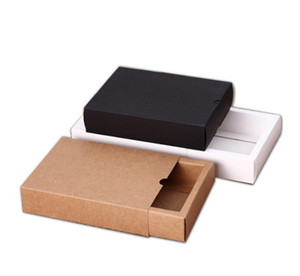 Kraft paper box black white paper drawer box for tea gift underwear biscuit packaging carton can be customized 8X8X4cm 12X9X3.3cm 17X8X3.5cm