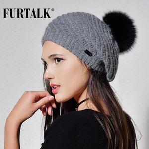 FURTALK Angola fur beret hats for women warm winter women fur pom pom hat knit beanie for girls