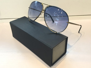 8478 classical Sunglasses Mirror Lens Oval Frameless UV Protection With Extra Lens Exchange for women and Men Top Quality Come With Case