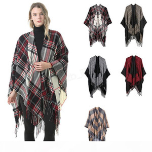 Women Wool Scarf Cardigan 130*150cm Patchwork Plaid Poncho Cape Tassel Winter Warm Blanket Cloak Wrap Shawl outwear Coat LJJA2983