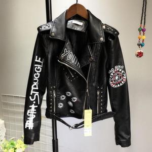 Punk nero Graffiti Faux Leather Jacket femminile PU Bassa Esile autunno donne cappotto signore Zipper Rivet Crop Motociclista Giacche