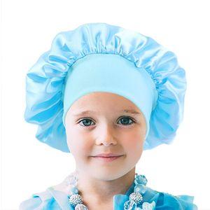 Fashion Kids Bonnet Girl Satin Night Sleep Shower Cap Hair Care Soft Cap Head Cover Wrap Beanies Skull Cap For 1-6Y baby E111803