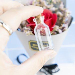 5ml Cute Compact Glass Pendants Mini Bottles With Cork Empty Small Perfume Wishing Vials Decoration Crafts Jars 100Pcs