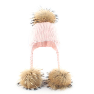 Toddler Baby 3 Raccoon Fur Ball Beanie Autumn Winter Warm Solid Color Knitted Hat Earflap Children Ear Protection Cap J1203