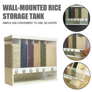 Duvara Monte Kuru Dağıtıcı Presi Tahıllar Dispenser Mutfak Saklama Kabı Tahıllar için