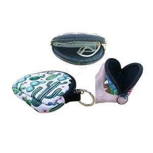 Holder Neoprene Face Mask Bag Waterproof Mask Shell Wallets Floral Solid Fashion Purses Round Facemask Mini Purse Keychain Penda